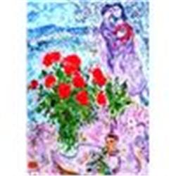 Chagall  Red Bouquet With Lovers  Lithograph W/Coa