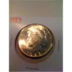 Better Date 1927 BU Silver Peace Dollar, MS64/65?