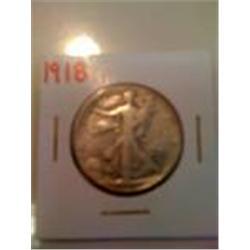 1918 Walking Liberty Silver Quarter