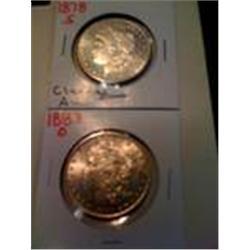 Two Silver Morgan Dollars, 1878-S, 1883-O