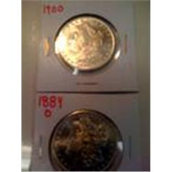 2 Better Date Morgan Silver Dollars, 1884-O, 1900