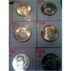 6 BU Silver Franklin Half Dollars