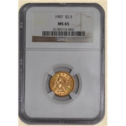 1907 $2.5 Gold Liberty, Graded MS65