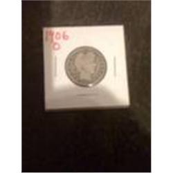 1906-O Silver Barber Quarter