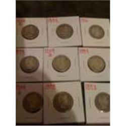 9 Silver Barber Quarters