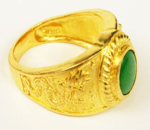 d6ad8b43b8933 MENS 24K YELLOW GOLD & JADE DRAGON RING