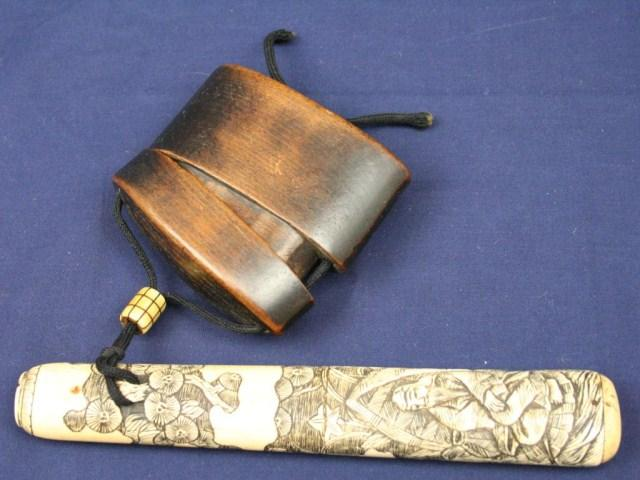 Japanese Inro With Carved Bone Pipe Holder
