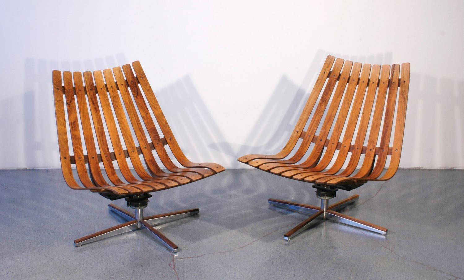 Enjoyable Mid Century Modern Swivel Slat Chairs Norway C 1950 Inzonedesignstudio Interior Chair Design Inzonedesignstudiocom