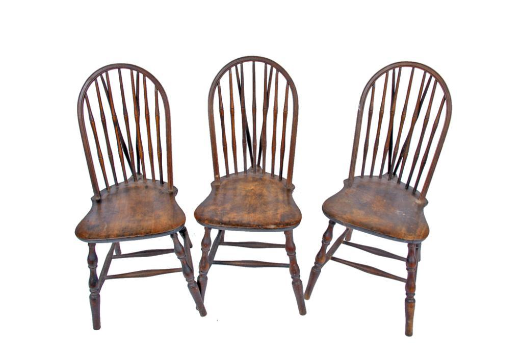 Lot of Three Early American Antique Chairs 19th century, well ...