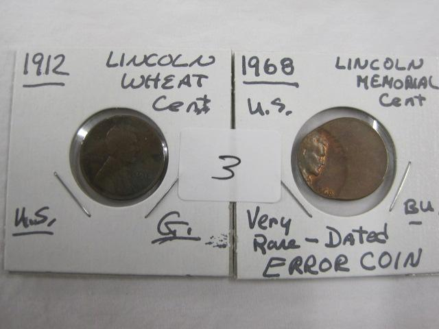 1912 Wheat Penny & 1968 Error Coin