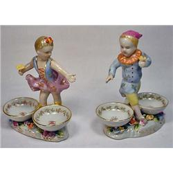 PAIR OF C. 1890S HAND PAINTED PORCELAIN DBL BOY AN