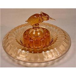 VINTAGE 2 PIECE HEISEY FLAMINGO CONSOLE BOWL AND K