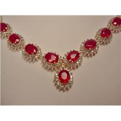 18K AND SILVER RUBY AND DIAMOND NECKLACE - Comes w