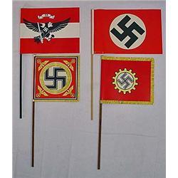 LOT OF 4 WW2 GERMAN NAZI PAPER RALLY FLAGS W/ STIC
