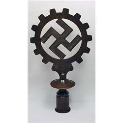 WW2 GERMAN NAZI DAF WORKER'S FLAG POLE TOP - BRONZ