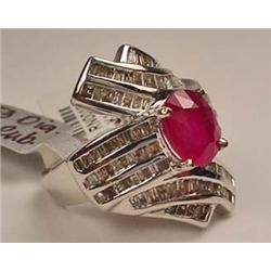 14K WHITE GOLD RUBY AND DIAMOND LADIES RING - SIZE