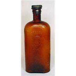 C. 1890S AMBER BROWN OREGON BLOOD PURIFIER GLASS B