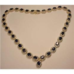 18K AND SILVER LADIES SAPPHIRE AND DIAMOND NECKLAC
