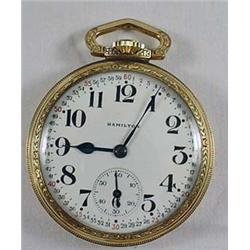 EARLY HAMILTON 17 JEWEL POCKET WATCH - WORKS