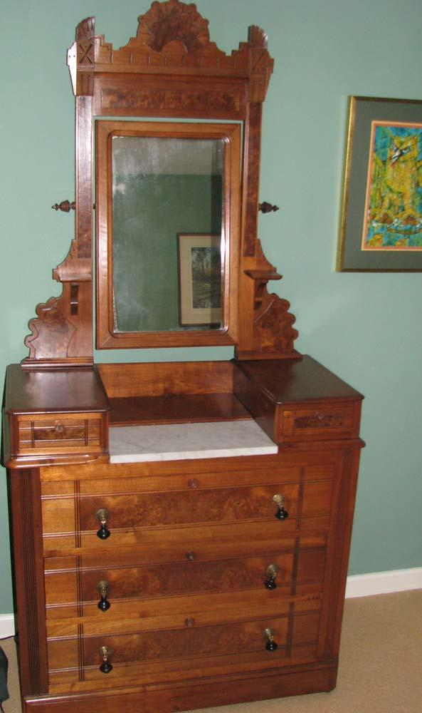 East Lake Victorian Marble Top Dressing Table With Mirror