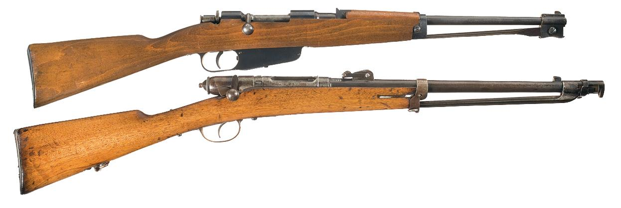 Two Italian Carbines A) Italian Model 1938 Cavalry Carbine with Folding  Bayonet