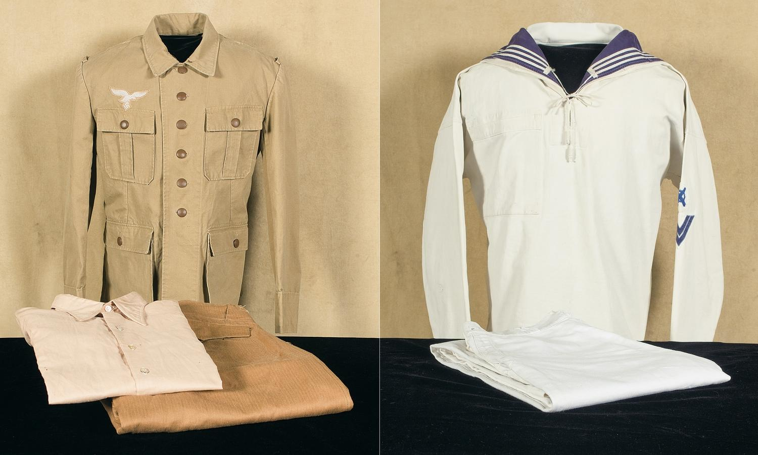 Luftwaffe Tropical Uniform and a Kriegsmarine Tunic and Trousers