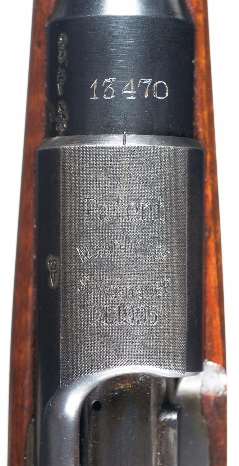 Steyr Model 1905 Mannlicher Bolt Action Rifle with London Retailer Marking,  Case and Accessories