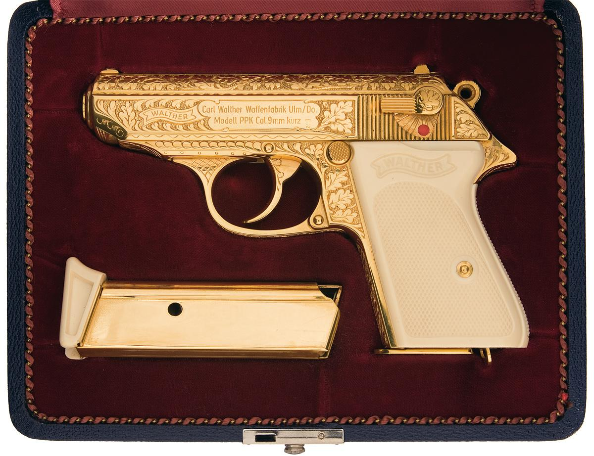 Custom Engraved Walther PPK with Gold Plated Finish Simulated Ivory Grips  and Walther Presentation C