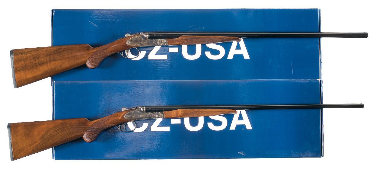 Two CZ Small Gauge Double Barrel Shotguns A) Engraved CZ Model Ringneck  Double Barrel Shotgun