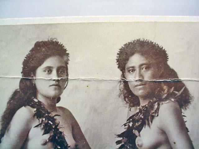 VINTAGE MOUNTED PHOTO OF SEMI NUDE HAWAIIAN HULA G