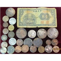 4. Collection of (28) Old U.S. & Foreign Coins, Paper Money & tokens. Includes some