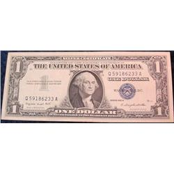 6. Series 1957A U.S. $1 Silver Certificate. AU 50.
