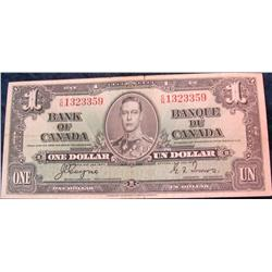 7. Series 1937 Canada $1 Bank of Canada Note. VF