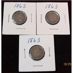 15. (3) 1863 U.S. Indian Head Cents. G-4