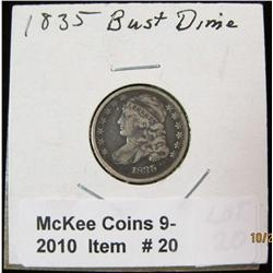 20. 1835 Capped Bust Dime. F-12.