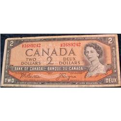 23. Series 1954 Bank of Canada $2 Note. VG-8.