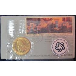 35. 1976 Bicentennial First Day Cover with Medal.
