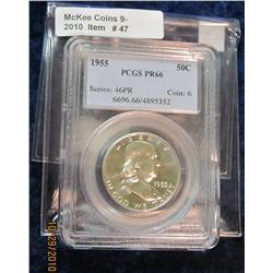 47. 1955 Franklin Half Dollar PCGS slabbed Proof 66.