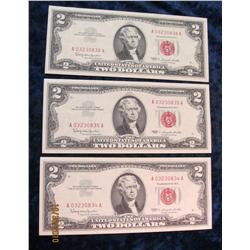 50. (3) Series 1963 $2 U.S. Notes. CU in rotation.