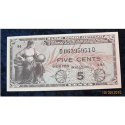 52. Series 481 Military Payment Certificate Five Cents. CU.