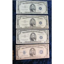 62. Series 1934C, 1953, 1953A, & 1953B $5 Silver Certificates. VG-VF.