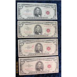 "63. (4) Series 1963 $5 U.S. Notes. VG-VF. ""Red Seals""."