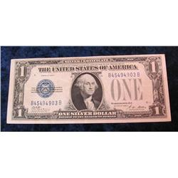 "66. Series 1928A $1 ""Funny Back"" Silver Certificate. VF."