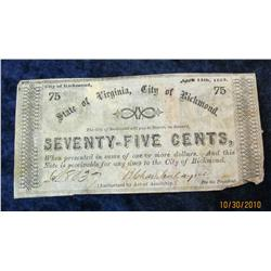 69. April 14th, 1862 .75c State of Virginia Confederate Banknote. Nice
