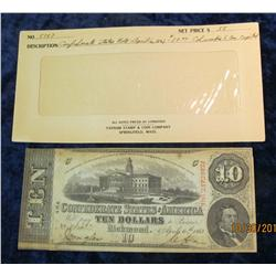 "75. CS 57 $10 ""The Confederate States of America"" Banknote. EF."
