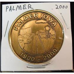 185. 1900-2000 Palmer, Iowa Centennial Bronze Medal. 39mm. BU.