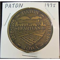 189. 1875-1975 Paton, Iowa Centennial Bronze Medal. 39mm. BU.