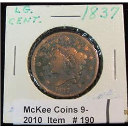 190. 1837 U.S. Large Cent. G-4. Cleaned. Some porosity.