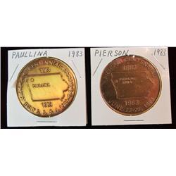 192. 1883-1983 Paullina, Iowa & 1883-1983 Pierson, Iowa Centennial Medals.