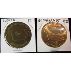 193. 1982 Plover & 1976 Rembrandt, Iowa Brass Medals. BU. 39mm.